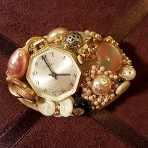 Handcrafted Pin with Vintage Buttons & Watch Face